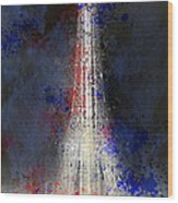 City-art Paris Eiffel Tower In National Colours Wood Print by Melanie Viola