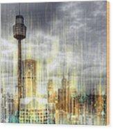 City-art Sydney Rainfall Wood Print