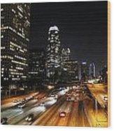 City At Night - Los Angeles Wood Print