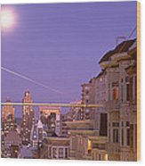 City At Night, San Francisco Wood Print