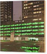 City At Night Urban Abstract Wood Print