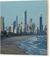 City At The Waterfront, Surfers Wood Print