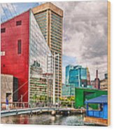 City - Baltimore Md - Harbor Place - Future City  Wood Print