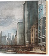 City - Chicago Il -  Building A New City Wood Print