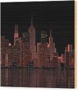 Chicago City Dusk Wood Print
