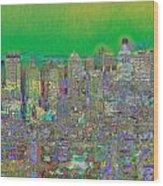 City Garden In Green Wood Print