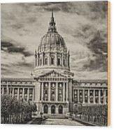 City Hall Antiqued Print Wood Print