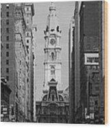 City Hall B/w Wood Print