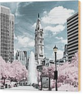 City Hall In Spring Wood Print