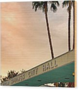 City Hall Sky Palm Springs City Hall Wood Print by William Dey