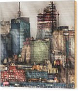 City - Hoboken Nj - New York Skyscrapers Wood Print
