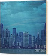 City In Blue Wood Print
