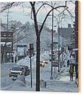 City In Snow Wood Print