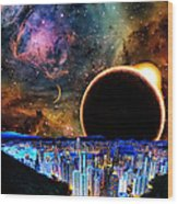 City In Space Wood Print by Bruce Iorio