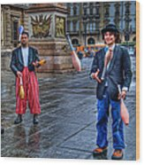 City Jugglers Wood Print by Ron Shoshani