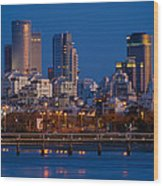 city lights and blue hour at Tel Aviv Wood Print