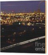 City Lights At Night Wood Print
