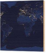 City Lights - Earth Wood Print
