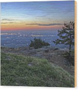City Lights From Sunrise Point At Mt. Nebo - Arkansas Wood Print