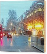 City Lights In London England Wood Print