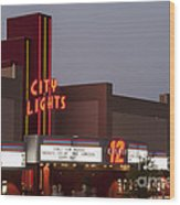 City Lights Marquee Wood Print