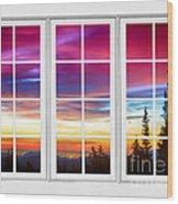 City Lights Sunrise View Through White Window Frame Wood Print