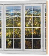 City Lights White Window Frame View Wood Print