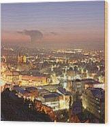 City Lit Up At Night, Esslingen Wood Print