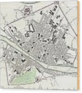 City Map Or Plan Of Florence Or Firenze Wood Print