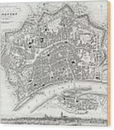 City Map Or Plan Of Frankfort Germany Wood Print
