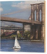 City - Ny - Sailing Under The Brooklyn Bridge Wood Print