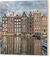 City Of Amsterdam At Sunset In Netherlands Wood Print