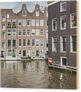City Of Amsterdam Canal Houses Wood Print