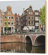 City Of Amsterdam In Holland Wood Print