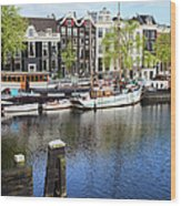 City Of Amsterdam River View Wood Print