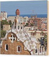 City Of Barcelona From Park Guell Wood Print