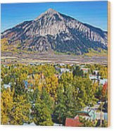 City Of Crested Butte Colorado Panorama   Wood Print