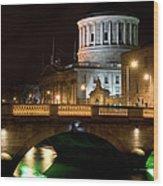 City Of Dublin At Night In Ireland Wood Print