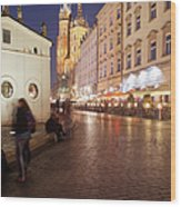 City Of Krakow By Night In Poland Wood Print