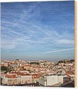 City Of Lisbon At Sunset Wood Print