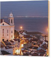 City Of Lisbon In Portugal At Night Wood Print