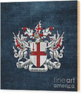 City Of London - Coat Of Arms Over Blue Leather  Wood Print