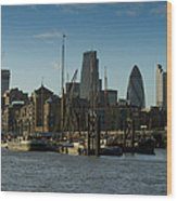 City Of London River Barges Wapping Wood Print