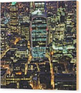 City Of London Skyline At Night Wood Print