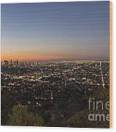 City Of Los Angeles Night Wood Print