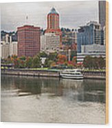 City Of Portland Oregon In The Fall Panorama Wood Print