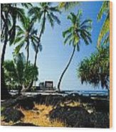 City Of Refuge - A View Of A Hawaiian Traditional House  Wood Print