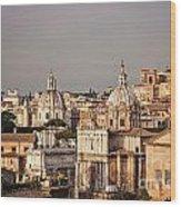 City Of Rome At Dusk Wood Print