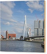 City Of Rotterdam Cityscape In Netherlands Wood Print