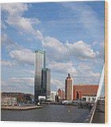 City Of Rotterdam From Erasmus Bridge Wood Print